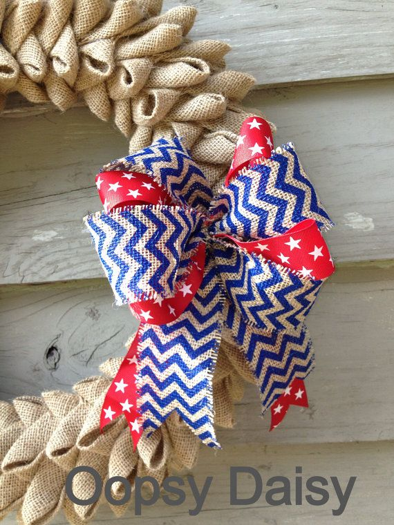 Burlap & Chevron Patriotic wreath bow Red by OOPSYDAISYDESIGNS, $15.00