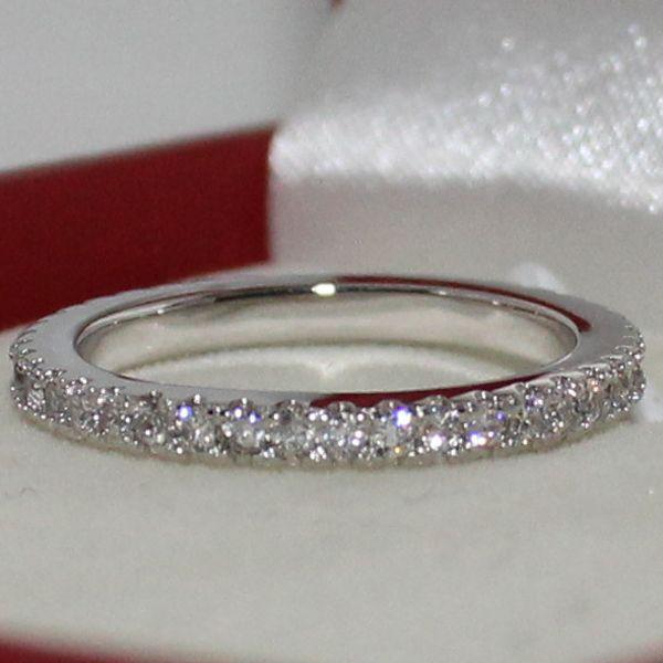 Eternity Lady's Silver Simulated Diamond Stone CZ Overlay Wedding Ring GuardIan Band