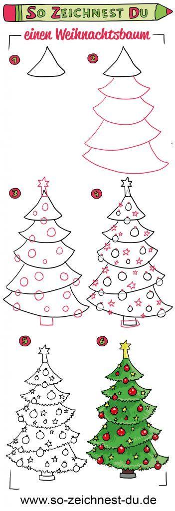 So zeichnest du ganz einfach einen Weihnachtsbaum
