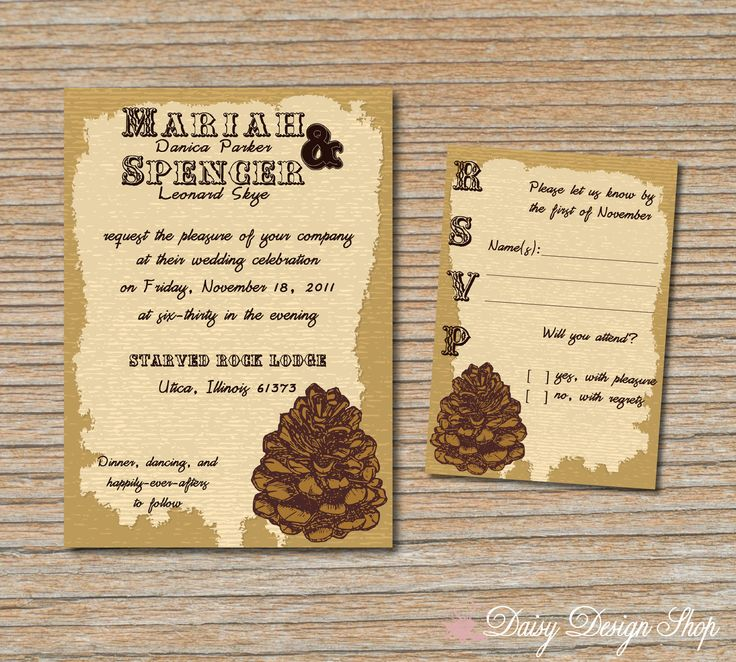 wedding reception directions card%0A Wedding Invitation  Pinecone Rustic Lodge  Invitation and RSVP Card with  Envelopes