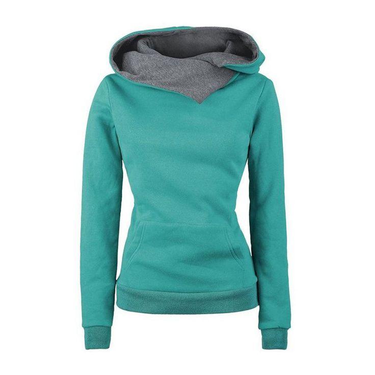 European and American Style Solod Women Sweatshirts Long-sleeve Hooded Jacket Pullover Hoodies Women Slim Fit Design