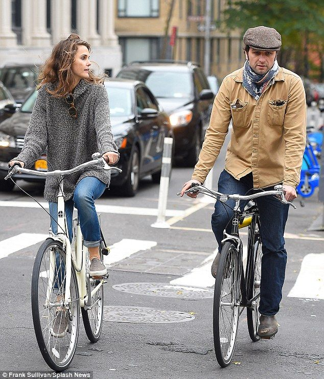 Keeping the spark alive! Keri Russell and her boyfriend Matthew Rhys enjoyed a leisurely bike ride through Brooklyn on Monday