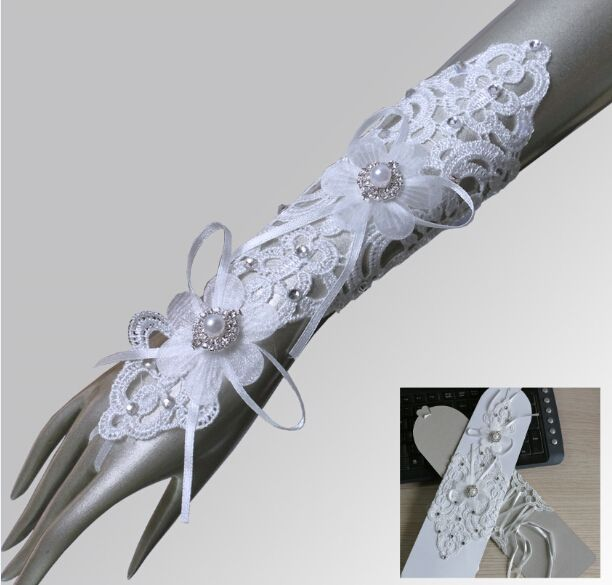 Νυφικά Γάντια Ζευγάρι με Δαντέλα, Κρύσταλλα και Κορδέλα - www.memoirs.gr