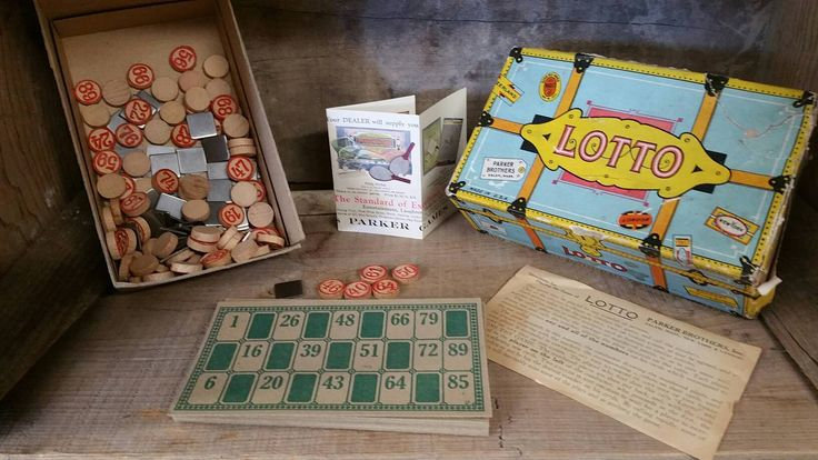 Vintage game, FREE SHIPPING,  1930s lotto game, parker brothers, made in usa, toys, games, lotto, antique games, 1930s, by TreasurehunterCoShop on Etsy