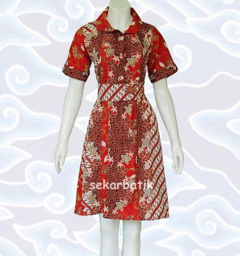 dress batik merah BD35 koleksi sekarbatik.com di katalog http://sekarbatik.com/dress-batik/