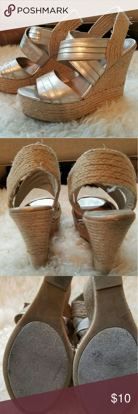 Gold Wedge Shoes Gently worn gold Mix No6 wedges. Minimal fraying but  still look super cute! Shoes Wedges