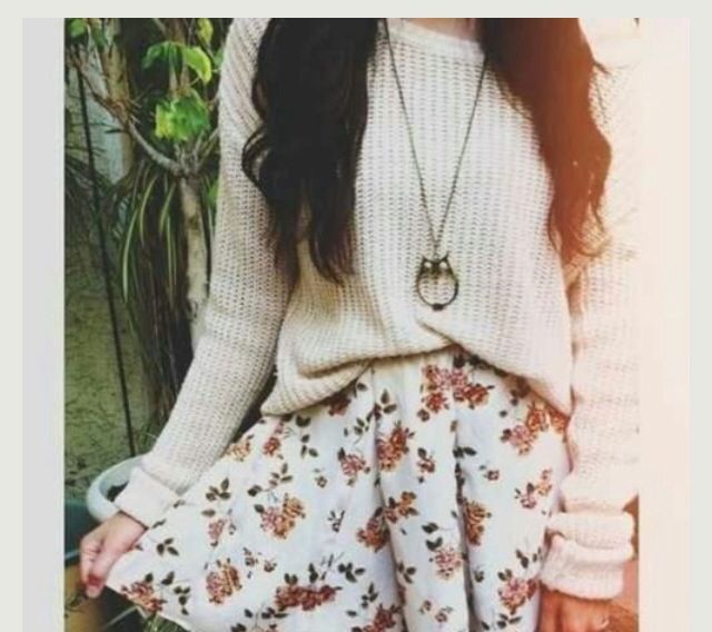 The Floral Skirt an Sweater are perfect