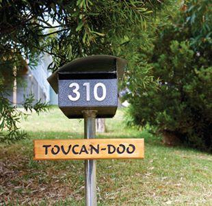 "Drive through Doo Town, where every house name contains doo ""Toucan-doo"", ""Dr. Doolittle"","