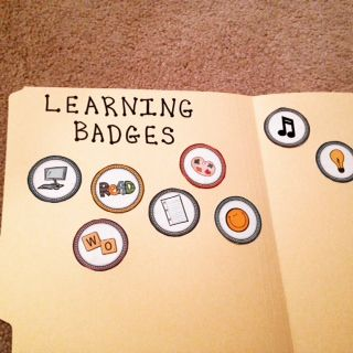 Recognize Student Achievement with Learning Badges ~ Each student keeps track of their accomplishments in a file folder $