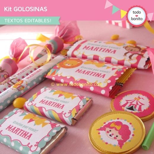 Circo niñas: kit etiquetas de golosinas