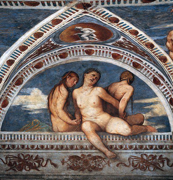 Girolamo Romani, il Romanino Decorazioni pittoriche: Tre Grazie, 1531-1532 - Castello del Buonconsiglio, Trento, Italy