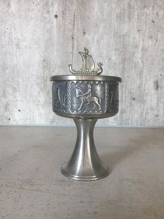 Pewter Bowl With Lid Storage Pewter Canister Pewter Jar Viking