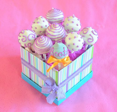 Cake Pops: They are great favors or items that could be part of a dessert table. Easy to personalize for any occasion.