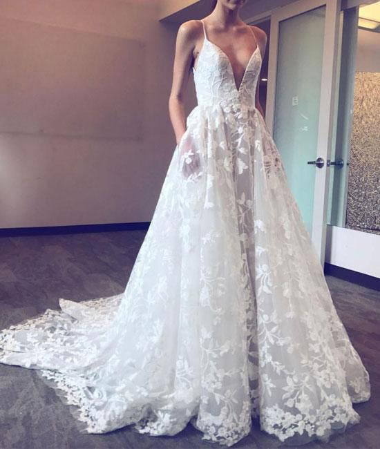 V-neck Sleeveless Lace Wedding Dress with Pockets,Sexy Bridal Dress with Sweep Train,Beach Wedding Dresses,