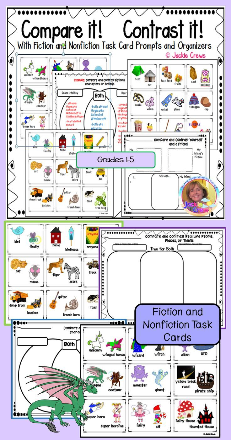 17 best ideas about compare and contrast examples compare contrast it fiction nonfiction task card organizers literacy center