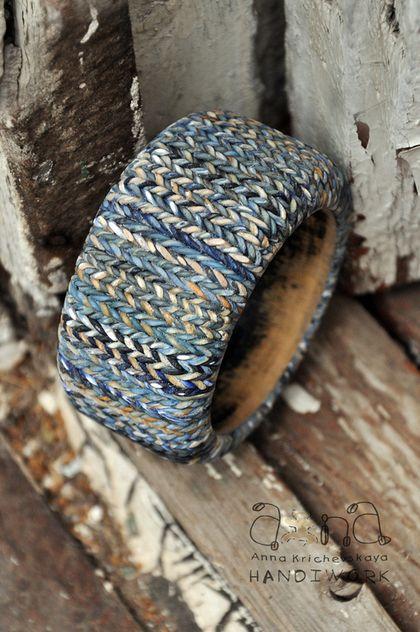"""Браслет """"вязанный"""" """"Синий крафт"""" - большой браслет,широкий браслет,Вязаный браслет"""