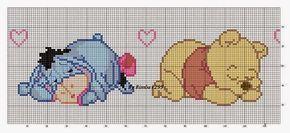 schema punto croce striscia lenzuolino whinnie the pooh | Hobby lavori femminili - ricamo - uncinetto - maglia