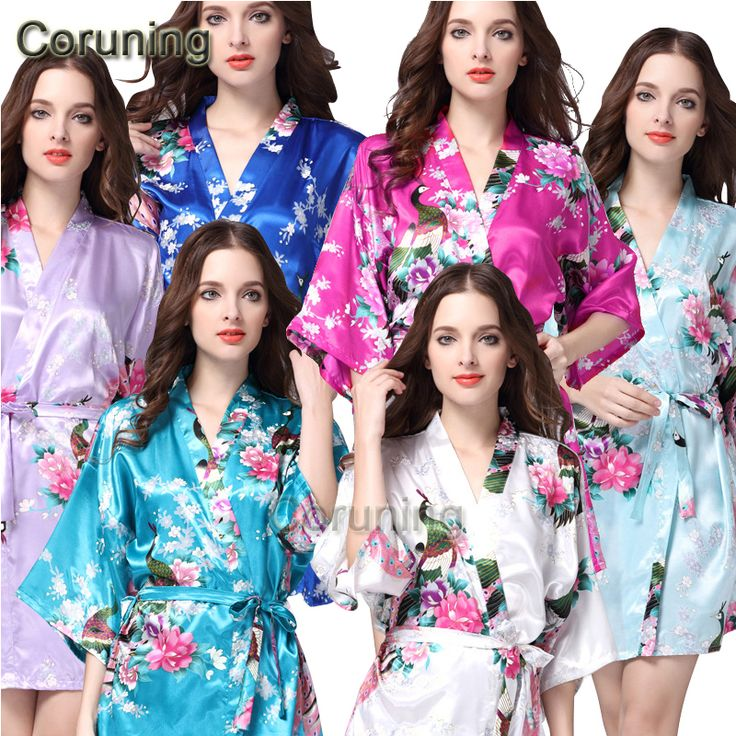 RB008  2015 Short Style Woman Peacock Printed Silk Kimono Robes ,Wedding Party Bridesmaid Robe-in Robes from Women's Clothing & Accessories on Aliexpress.com | Alibaba Group