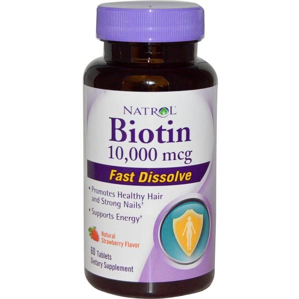 Natrol Biotin Maximum Strength Strawberry 10 000 Mcg 60 Tablets Natrol Biotin Biotin Vitamins For Hair Loss