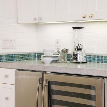 Subway Tile Backsplash With Glass Mosaic Accent