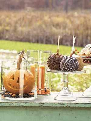 Pumpkin Table Decor: Fall Decor, Glasses, Halloween Parties Ideas, Pumpkin, Candles, Candy Apples, Halloween Treats, Halloween Decor Ideas, Caramel Apples