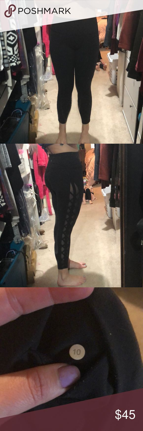 Lululemon Size 10 tights 7/8ths Lululemon tights for sale. Leg mesh criss cross retail, hi rise and back inner pocket. No rips or stains, some pilling in the crotch. lululemon athletica Pants