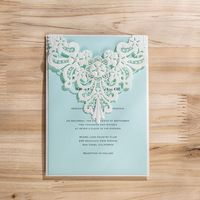 Wedding Invitation Cards Laser Cut Elegant Blue Inner Page Card with Pearl Personality Customize Birthday Party Cards CW5190