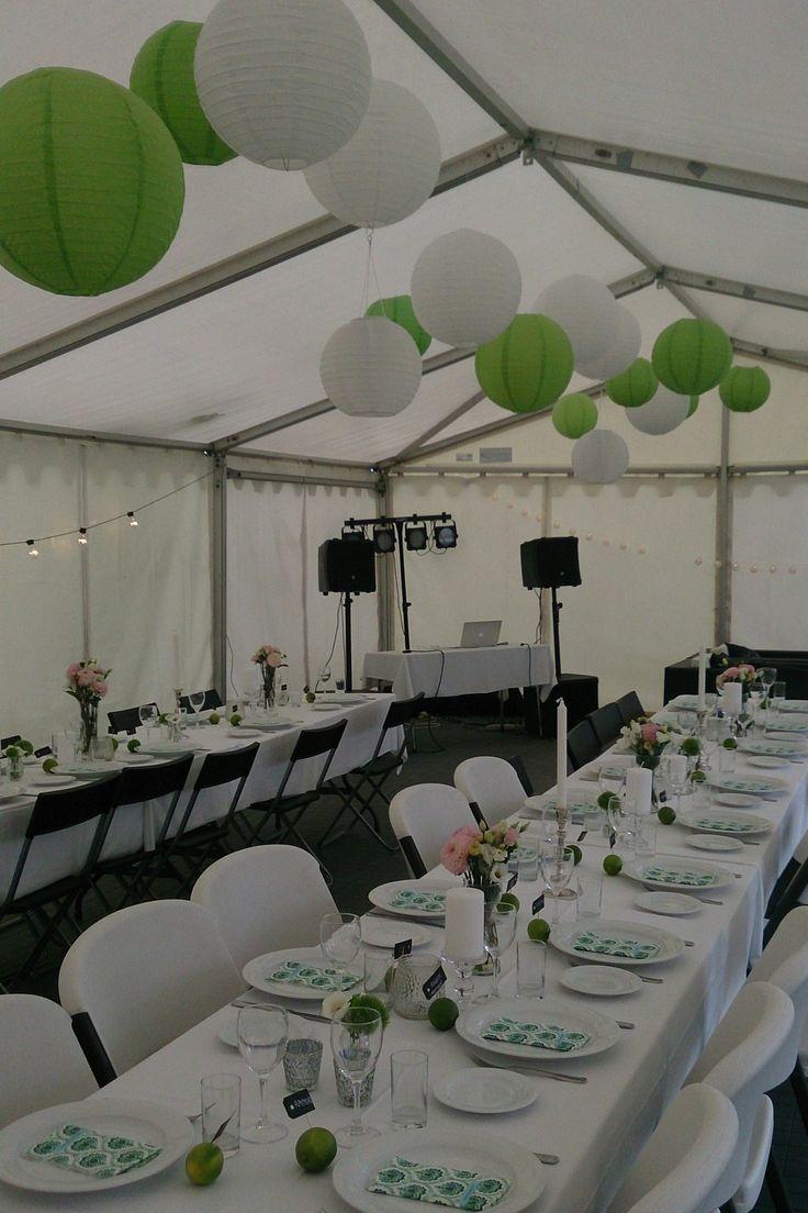 Sommerfest,bryllup,wedding,tent,telt,white,hvit,lime,diy room decor ,Arrangøren, DIY