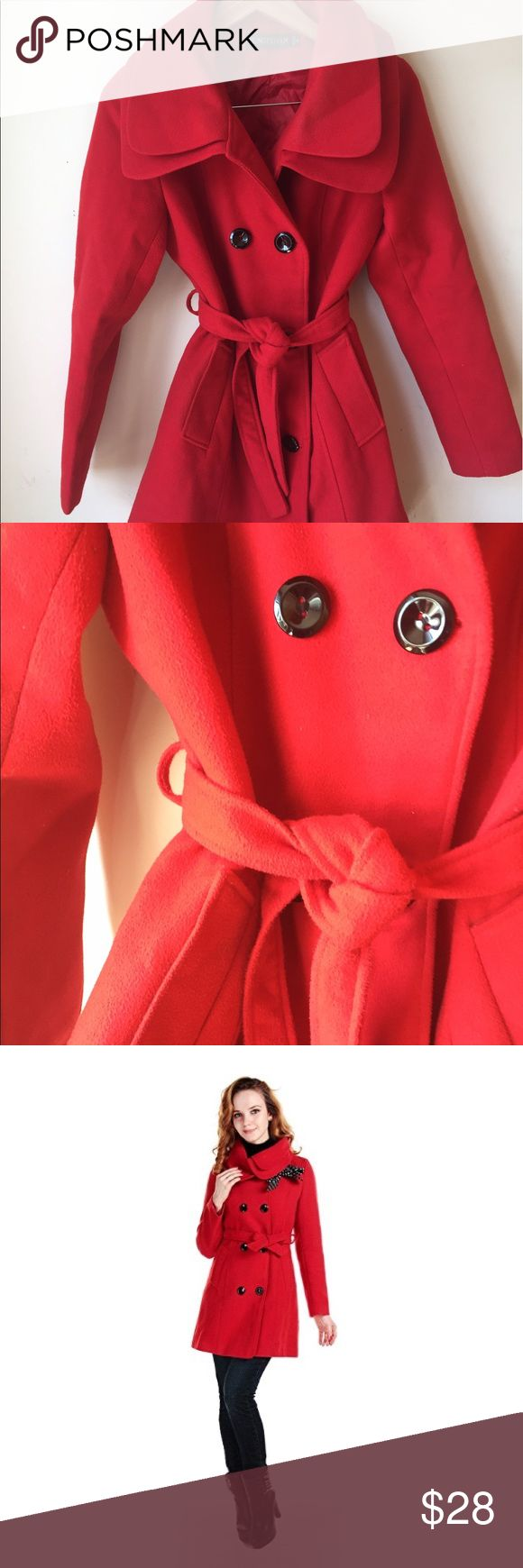 Red Winter Pea Coat Vibrant, brilliantly red pea coat perfect for the wintertime. Looks beautiful in contrast to the snow!  It runs a bit small so anyone from XS to M should probably fit  *This item is not up for trades at this time* Jackets & Coats Pea Coats