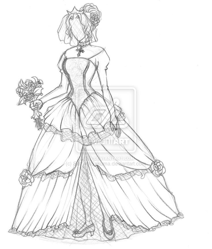 How To Draw A Wedding Dress For Beginners | Drawing And Coloring ... | Drawings | Pinterest ...