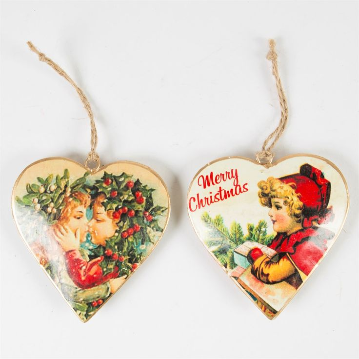 Christmas Children Retro Heart Hanging Decoration Assorted