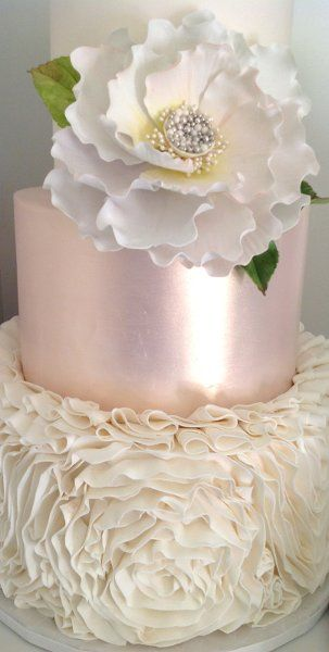 Beautiful 3 tier pink and white ruffled cake with flower topperWedding Planner, Morgantown wedding planner, Pittsburgh wedding planner, morgantown wedding planning, West Virginia weddings, WV Weddings, Pittsburgh weddings, Yohana Williams Weddings & Events