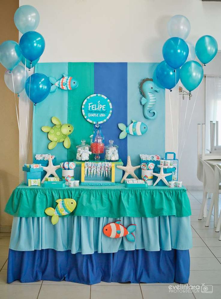 Best 25 fish party decorations ideas on pinterest under for Baby birthday decoration photos