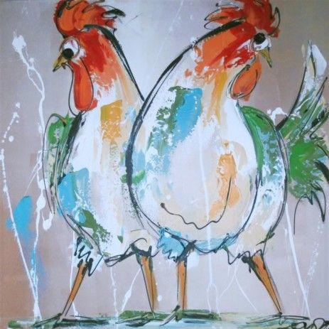 Dit is een rechter uitsnede van de 'Kleurig bonte kippen'. Twee van de zes kippen in diezelfde herkenbaar vrolijke stijl dit keer in frisse kleuren. Een van de vierkante alternatieven voor als het grote rechthoekige doek niet past.