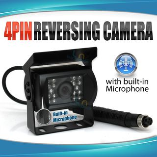 4 PIN Heavy Duty 12V 24V CCD IR Colour Reversing Camera 20M with built in Microphone