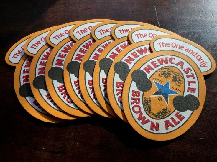 """Collectible Lot 8 Newcastle Brown Ale Beer Coasters - 5"""" X 3 1/4"""""""