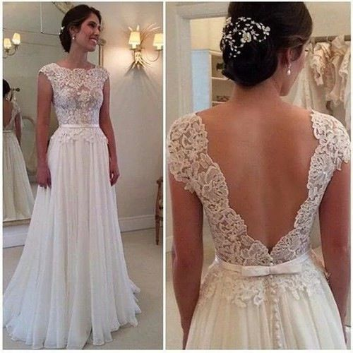 Image of A-line Lace Bodice Chiffon Skirt Cap Sleeve Beach Wedding Dresses