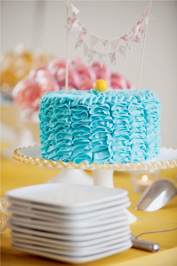 #blue #ruffle #cake with #bunting