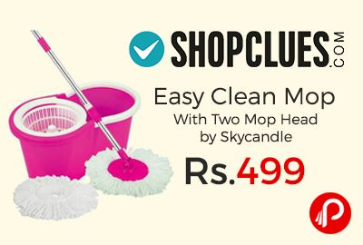 Shopclues is offering 75% off on Easy Clean Mop With Two Mop Head by Skycandle at Rs.499 Only. Made Of The Good Quality Material, This Bucket And Mop Set Will Allow You To Clean Your Bathroom Or Home In A Proper And Better Manner.  http://www.paisebachaoindia.com/easy-clean-mop-with-two-mop-head-by-skycandle-at-rs-499-only-shopclues/