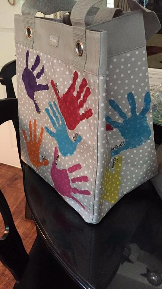 Thirty-One Essential Storage Tote makes a great teacher gift...have each child stamp their handprint!