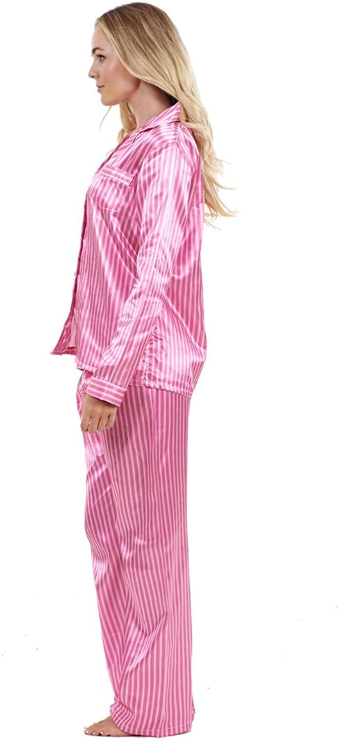 372619a23288 Ladies Stunning Printed Satin Pyjamas Womens Long Sleeve Nightwear Silk  PJ'S: Amazon.co.uk: Clothing