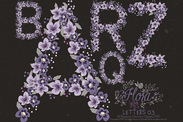 Flower Letters 03 Clipart And Vector Flora 23 By Michelle Alzola Thehungryjpeg Com Flower Letters Clip Art Lettering