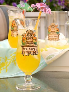 Personalized Tiki Bar Hurricane Glasses & Pitcher | Solutions