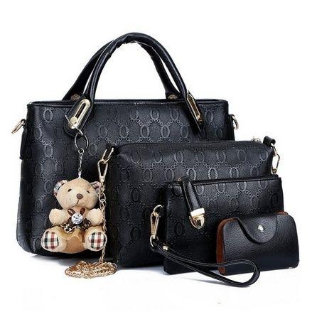 4 in 1 Fashion Women PU Leather Handbag Shoulder Bag Tote Bag Purse Bags Set - For Sale