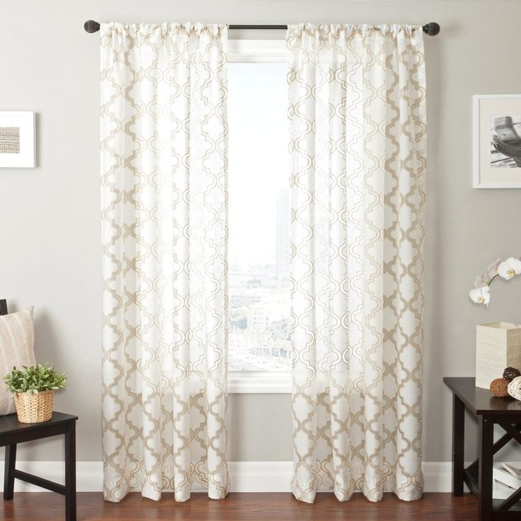 "AmazonSmile: Softline Presidio Burnout Window Sheer / Panel / Drape / Decorative Curtain with Rod Pocket, Champagne/White, 55"" x 96"": Home & Kitchen"