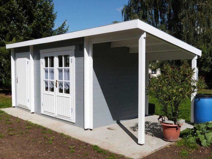 Viel Stauraum und eine freundliche Fassade: Gartenhaus Maria 40 mit Anbau und Schleppdach.