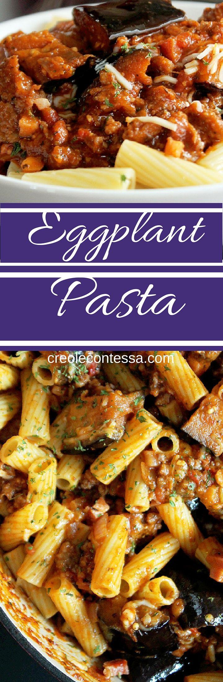 Pasta with Eggplant, Sausage and Pancetta -Creole Contessa