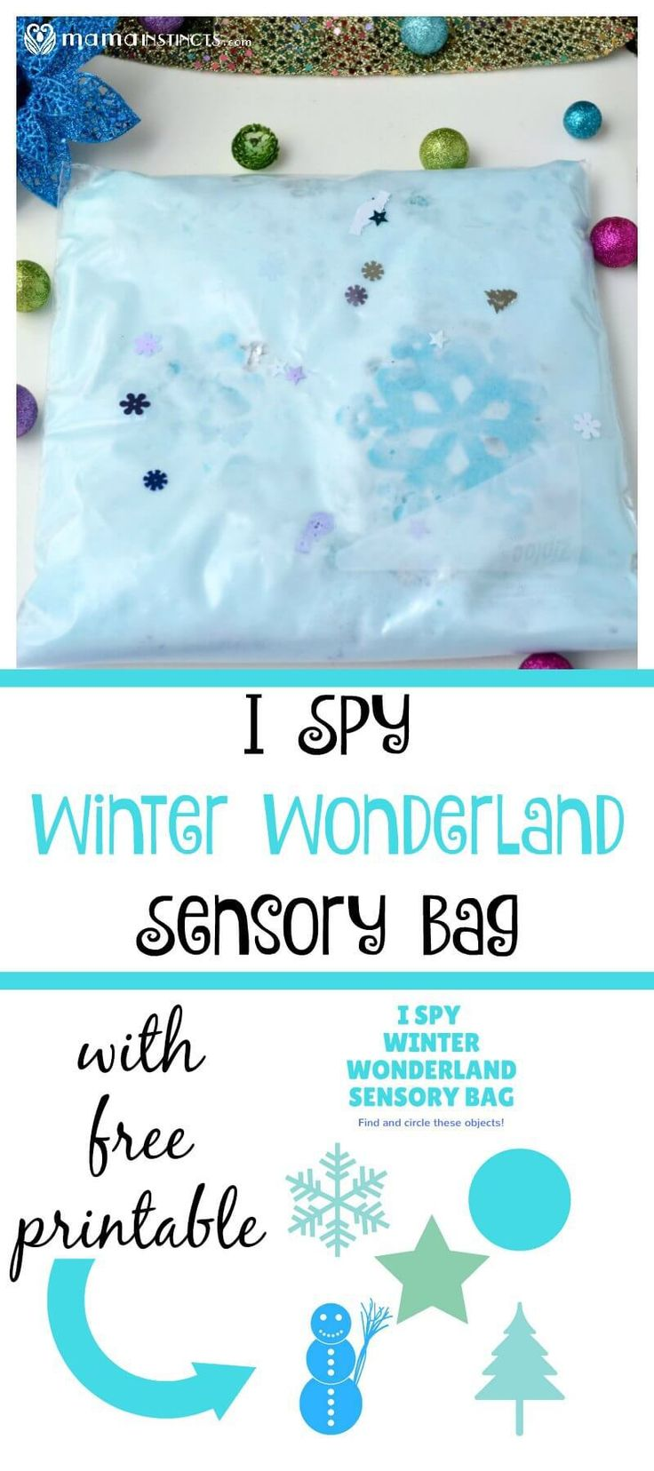 Try this fun sensory play activity that will keep the kids entertained for hours. It comes with a free printable to make this sensory bag an engaging and learning activity. #sensoryplay #sensorybag #kidsactivities #MamaInstinctsBlog