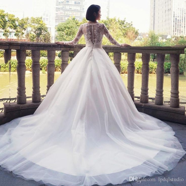 Illusion Long Sleeves Lace Ball Gown Wedding Dresses Big Train Custom Made Plus Size Bridal Gowns Buttons Back Lace Wedding Gowns Ball Dresses Black And White Dresses From Lpdqlstudio, $133.76| Dhgate.Com