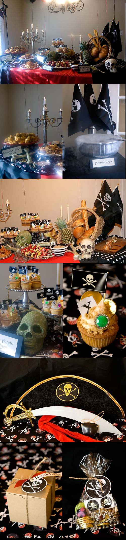 Look at the details: nautical netting, pineapple, silver candelabra [draped with jewels] & serving dishes, skull & bones, black & white bowls & fabric, pirate flags. 'Smoking' pirate punch. This lady pulls off an impressive pirate party -- and this was for a child's birthday party! Arrr! Halloween Pirate's Nightmare in the Caribbean Party Decorations & Ideas